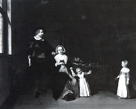 portrait of a family in an interior by gerard van donck