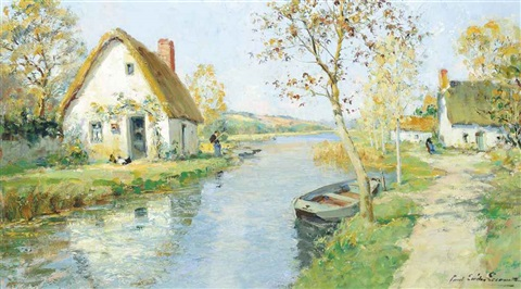 fishing at a riverside cottage by paul emile lecomte