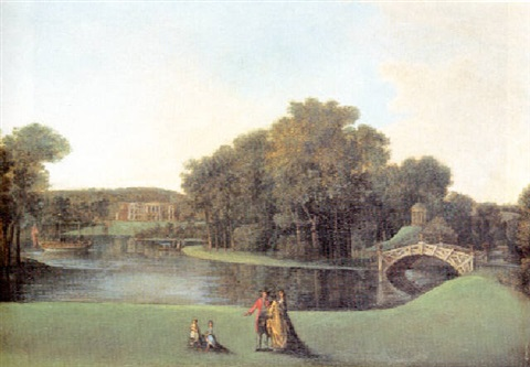 a view of walton bridge and the temple of venus in the garden of sir francis dashwood, lords despencer, west wycombe by william hannan
