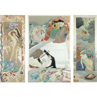 the legend of orpheus (design for mural; triptych) by john duncan