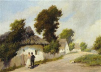 a couple in a village street by agoston acs