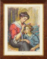 maman coiffant sa fille by jean misceslas peské
