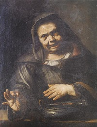 portrait of an old lady cooking chestnuts in a brazier by pietro bellotti