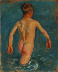 study for badende drenge, skagen and bathing boys, skagen (2 works) by august torsleff