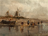 fisherman on the shore by adolf stademann