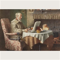 peeling apples (+ the evening news; pair) by henry edward spernon tozer