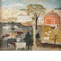 farm with cows grazing in a pasture by albert webster davies