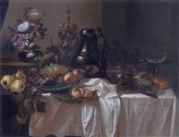 stillleben mit früchten, buschrosen, buckelpokal und rembrandtkanne by cornelis cruys