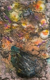mohnblüten in schwarzer vase by ernst fuchs