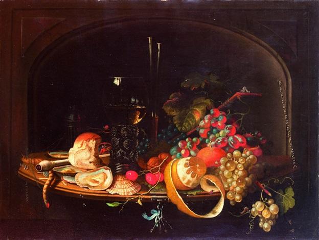 frutta un calice di vino e altri oggetti in un vassoio by abraham mignon