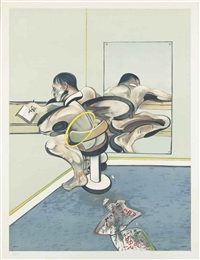figure writing reflected in a mirror by francis bacon