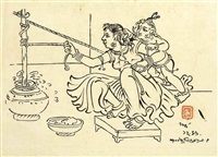 untitled (yashoda with krishna churning butter) by nandalal bose