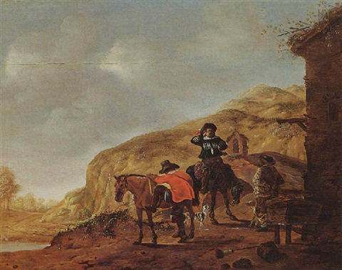 two horsemen resting near a tavern in a hilly landscape by pieter cornelius verbeeck