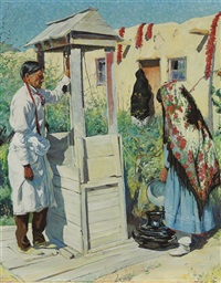 a pueblo well scene by walter ufer