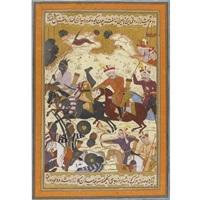 shah isma'il amid the heat of battle (from bidjan's tarikh-i djahangusha-yi sahibqiran, a history of shah isma'il i) by muin musavvir