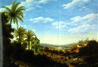 brazilian landscape with dancing natives and a chapel with a porch by frans jansz post