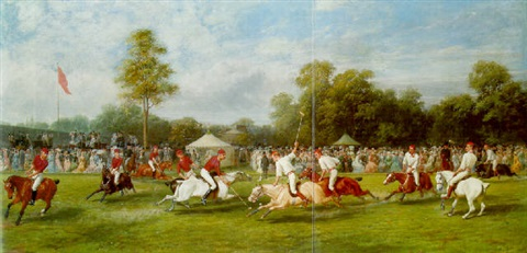 a polo match at hurlingham between the royal horse guards and the monmouthshire team played on 7 july 1878 by george earl