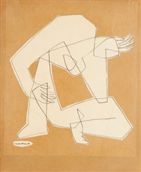 personnages assis (study) by costas coulentianos