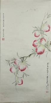 scroll painting of peaches by jiang zhongzheng