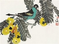 花鸟 镜框 设色纸本 by lin yong