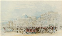 a military parade on the esplanade, calcutta by thomas allom
