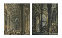 the interior of the duomo in milan with a view of the high altar and a procession; the interior of the duomo in milan from the ambulatory of the transept (pair) by giovanni migliara