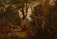 autumn forest with deer by peter (johann p.) raadsig