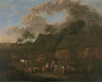 soldaten besetzen ein dorf by jan-peter van bredael the younger
