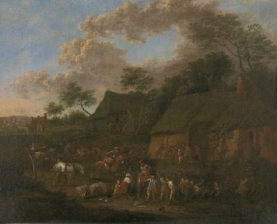 soldaten besetzen ein dorf by jan peter van bredael the younger