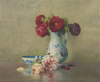 still life with roses by isidore rosenstock