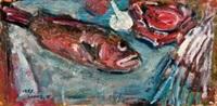 1987 鱼与静物 by chang wan-chuan