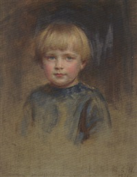 portrait of richard waller as a boy in a blue smock by mary lemon waller