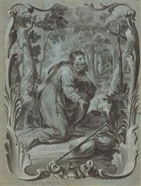 der heilige onuphrius in einer rocaillearchitektur by johann wolfgang baumgartner