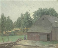 summer in connecticut--the old barn at branchville by julian alden weir