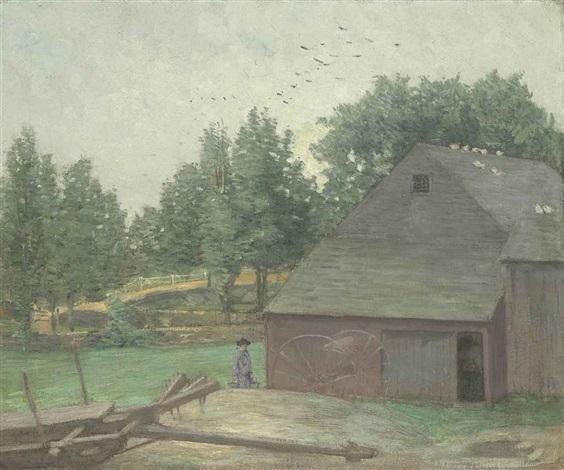 summer in connecticut--the old barn at branchville by julian alden weir