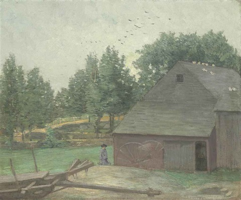 summer in connecticut the old barn at branchville by julian alden weir