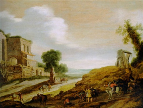 the centurion with joseph's brothers on the road from egypt by lambert jacobsz