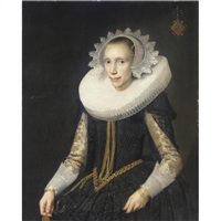 portrait of a young lady, half length, wearing a black dress and an elaborate ruff and headress by jan daemen cool