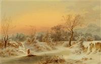 winterlandschaft mit figürlicher staffage by friedrich wachsmann