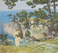 the blue sea and the bather by childe hassam