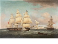 hms fortunée off dover, captain henry vansittart by thomas whitcombe