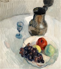 still life with fruit on a white plate, a tin jug and a glass by gerhard arnold christiaan smith