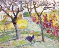 auvergne, le jardin en automne derrière l'église by victor charreton
