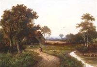 figure in a landscape before a cottage by hendrik pieter koekkoek