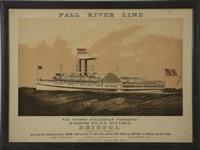 the sidewheel mammoth palace steamer bristol of the fall river line by endicott & co. (printers)