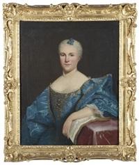 portrait d'homme avec une veste claire, portrait de femme avec une robe bleue et une partition de musique (pair) by french school (18)