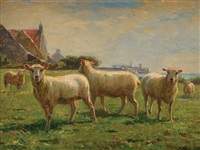 moutons aux pâturages by léon barillot