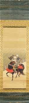 generals kajiwara kagesue and sasaki takatsuna in a battle at the uji river, 1184 (heike monogatari, chapter 9) (pair) by setsuan yoshizawa