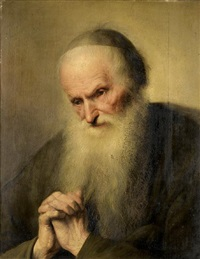 an elderly bearded man in prayer by jacques des rousseaux