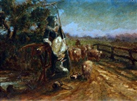 farm worker, young child and sheep by john linnell